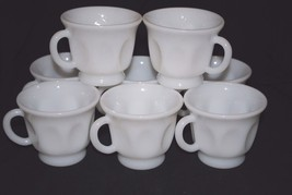 Set of 8 Vintage Thumbprint Milk Glass Punch Glasses / Coffee Cups - $28.04