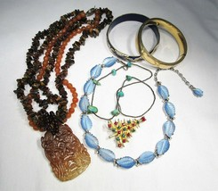 Vintage Costume Jewelry Lot Cloisonne Sterling Turquoise Gold Fill Jewelry C2747 - $27.96