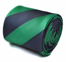 Green and Navy Barber Stripe Mens Tie by Frederick Thomas RRP £19.99 FT1603