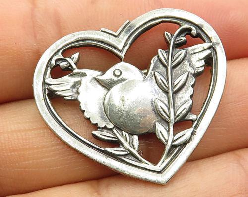 CORO 925 Sterling Silver - Vintage Baby Bird Open Love Heart Brooch Pin - BP2011