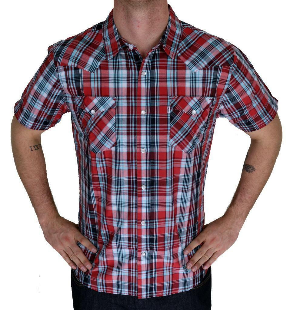 Levi's Men's Classic Button Plaid Red Geometric Shirt 3LYSW6062-App