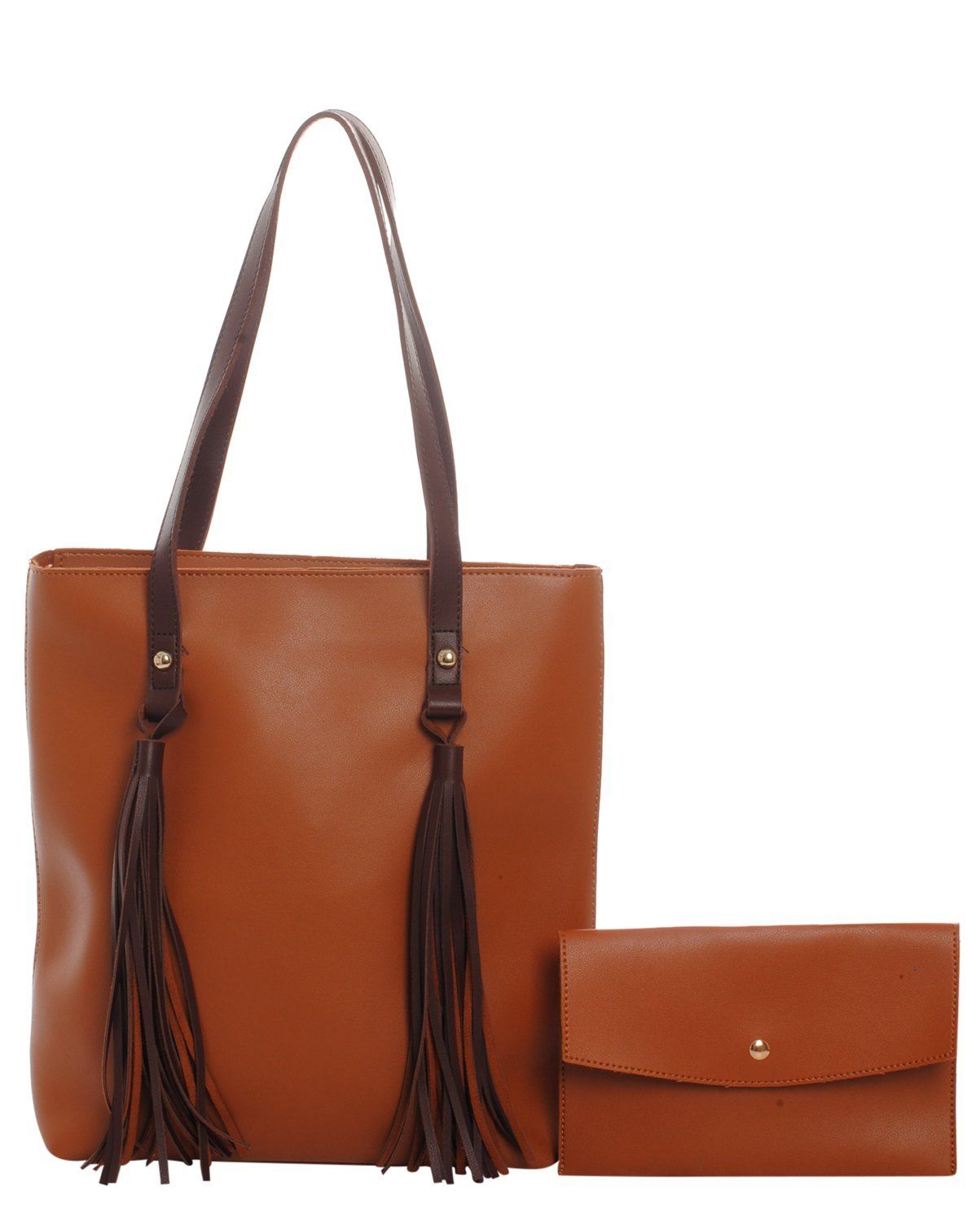 Tassel Fringe Shoulder Handbag & Wallet 2 Piece Set (Tan)