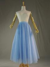 Light Blue Plaid Skirt Women High Waisted Long Plaid Skirt Tulle Skirt image 3