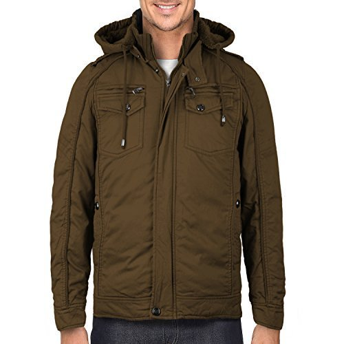 Maximos Men's Hooded Multi Pocket Sherpa Lined Sahara Bomber Jacket (Large, Brow