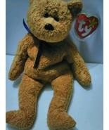 BEANIE BABY FUZZ Brown Bear Blue Navy Ribbon fu... - $9.99