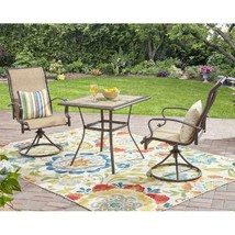 Patio Bistro Table And Swivel Rocking Chairs Set Outdoor Furniture 3-Pie... - £190.80 GBP