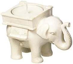 Lucky Elephant Antique Ivory-Finish Tea Light Holder - $8.20