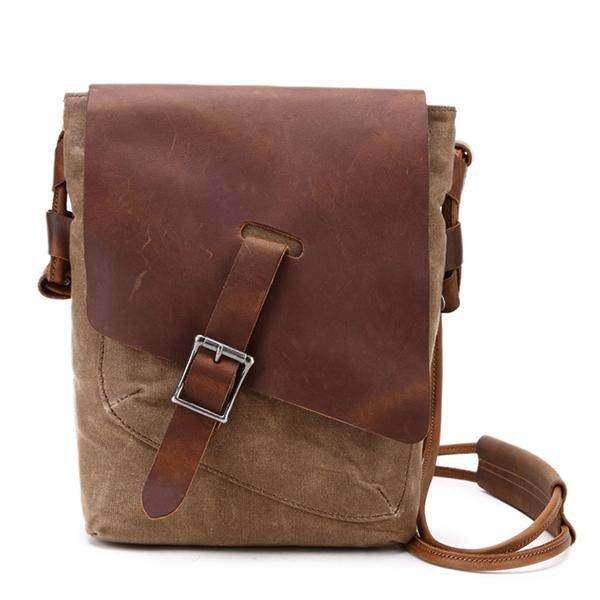 Sale, Leather with Canvas Crossbody Bag, Canvas Messenger Bag, Vintage Messenger image 2