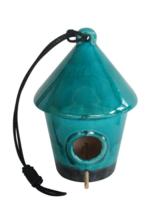 10 in. Hanging Ceramic Turquoise Birdhouse Cott... - $68.45