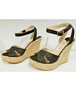 NEW JIMMY CHOO Phoenix Brown Embossed Leather Ankle Strap Espadrille - S... - $209.99