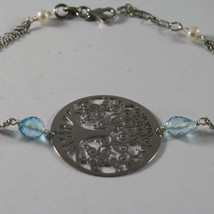 .925 RHODIUM SILVER BRACELET WITH DROP BLUE TOPAZ, FW PEARLS AND TREE OF LIFE image 2