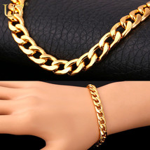 "Fashion Women Bracelet ""18K"" Stamp Real Gold Plated 22 CM 8 MM - $34.39"