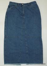 LAUREN JEANS CO Blue Denim Pencil Skirt Fringe Hem Back Slit Petite 12P ... - $12.95