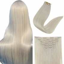 Easyouth Human Hair Clip in Hair Extensions Seamless Color 1000 White Blonde Dou