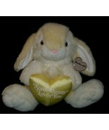 "10"" VINTAGE 1993 SUMMIT YELLOW BUNNY RABBIT W HEART LOVES YOU STUFFED AN... - $23.03"