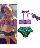 Kids Baby Girl Summer Clothes Cute Mermaid Swimwear Sets Sleeveless Bow ... - £6.63 GBP+
