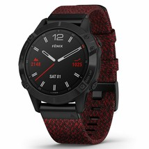 Fenix 6 Sapphire, Black DLC /Heathered Red Nylon Band 010-02158-16 (WARRANTY) - $938.67