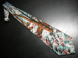 Je Suis Neck Tie Silk Fall Winter Forest Scene Abstraction Browns Whites Blues - $10.99