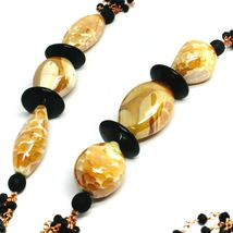 """ROSE NECKLACE BLACK, ORANGE SPOTTED DROP OVAL MURANO GLASS, MULTI WIRES 35"""" LONG image 3"""