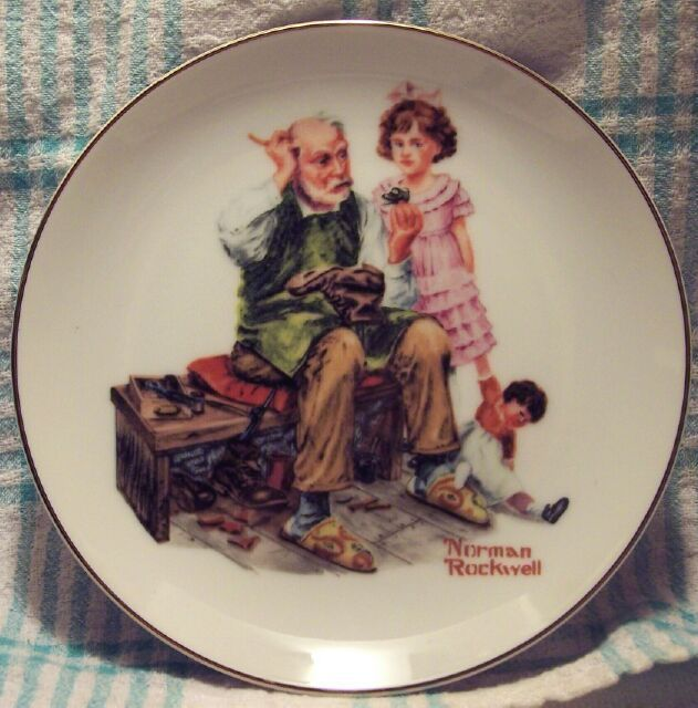 1984 Norman Rockwell Museum The Cobbler Collector Plate