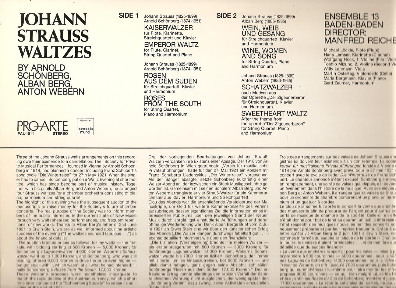 LP--ARNOLD SCBONBERG-ALBAN BERG-ANTON WEBERN -JOHANN STRAUSS WALTZES