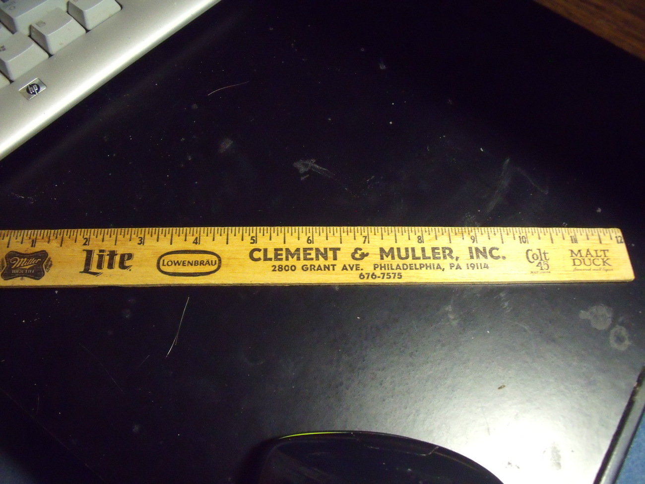 Old Beer Distributor Ruler with Brand Names of Brews