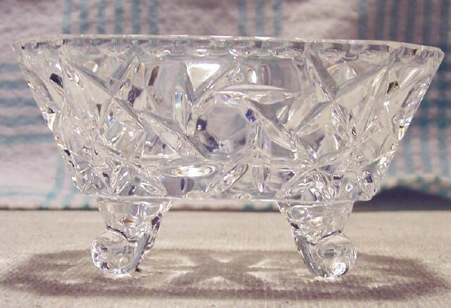 Crystal Footed Salt Cellar Star and Pinwheel Pattern 1960's