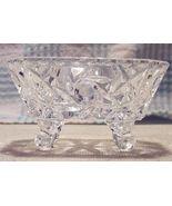 Crystal Footed Salt Cellar Star and Pinwheel Pattern 1960's - $10.00