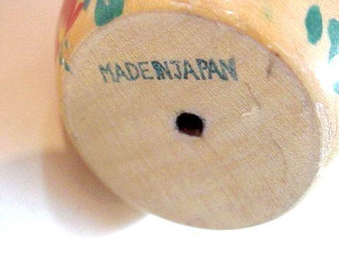 "Vintage Wooden Japanese Kokeshi Nodder Doll - Handpainted - Made in Japan - 4"""