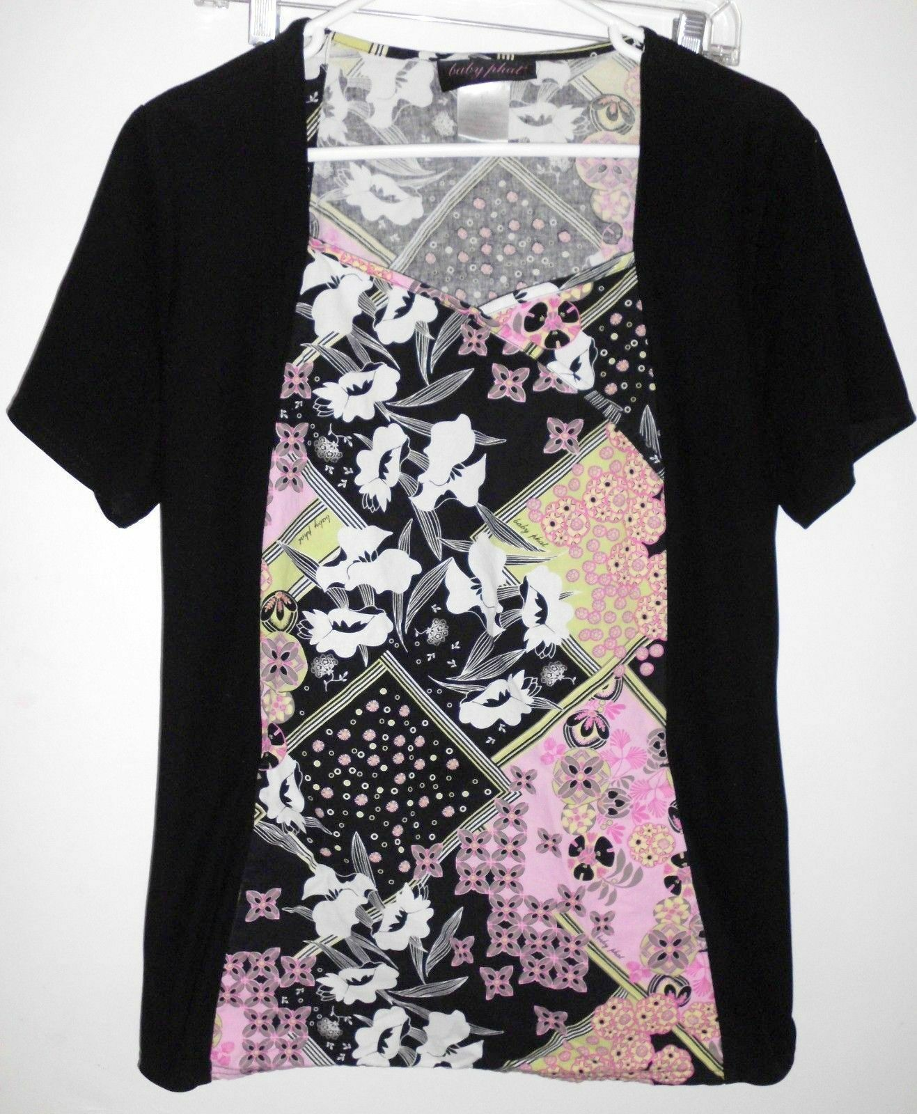 Primary image for BABY PHAT Top LARGE Women Black Pink Green Floral Short Sleeve Stretch Shirt