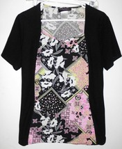 BABY PHAT Top LARGE Women Black Pink Green Floral Short Sleeve Stretch S... - $11.87