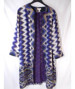 Chicos 1 Night Violet ZigZag Embellished Artisan Duster Jacket Womens M ... - $33.65