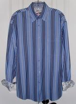 BUGATCHI UOMO MEN'S DRESS SHIRT FLIP CUFFS BLUE STRIPED SZ LARGE - $23.99