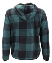 Men's Casual Flannel Zip Up Fleece Lined Plaid Sherpa Hoodie Lightweight Jacket image 6