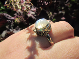 Adorable Rainbow Moonstone Locket Ring, 925 Silver, Size 9 or S (UK) - $32.00