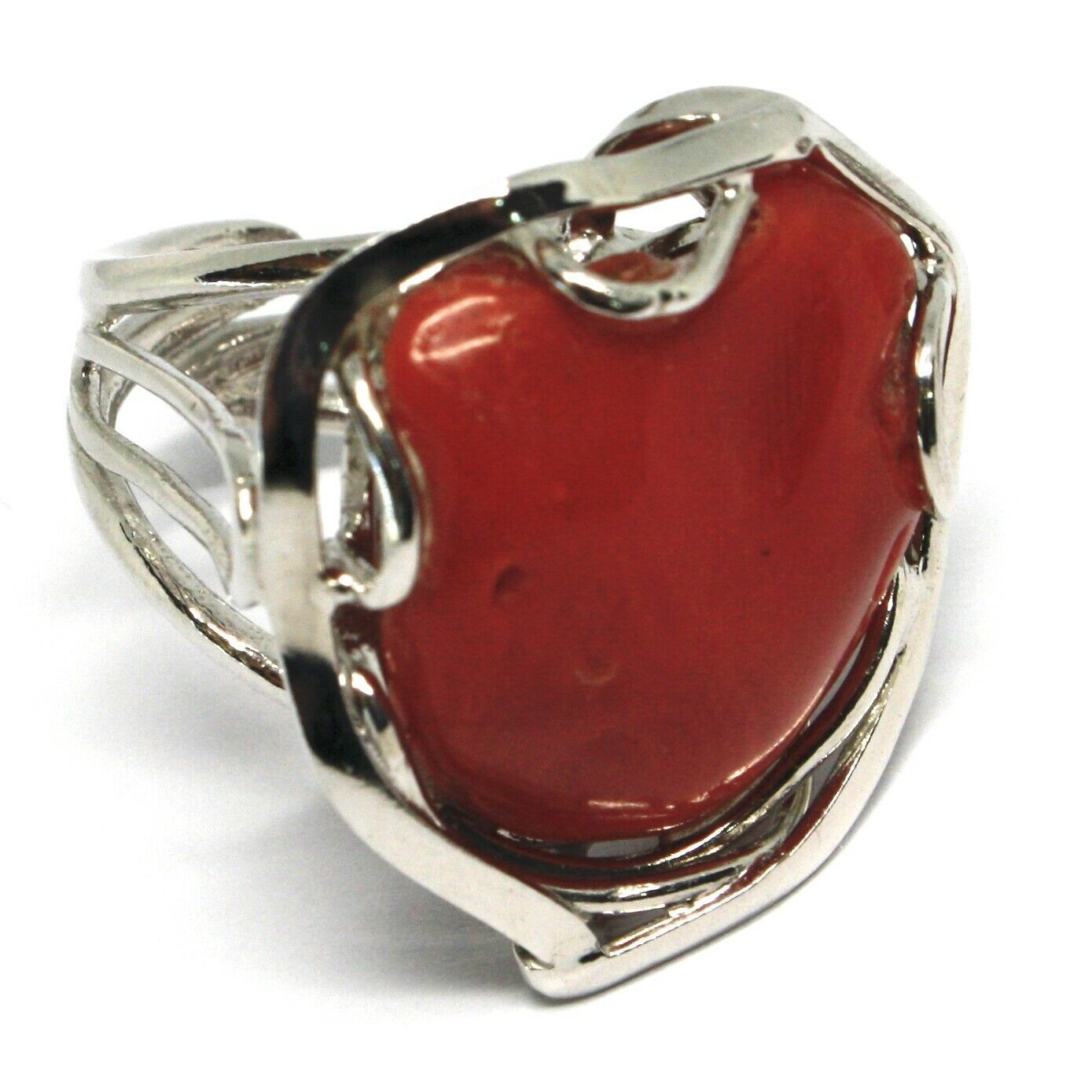 925 SILVER RING, RED CORAL NATURAL HEART, CABOCHON, MADE IN ITALY