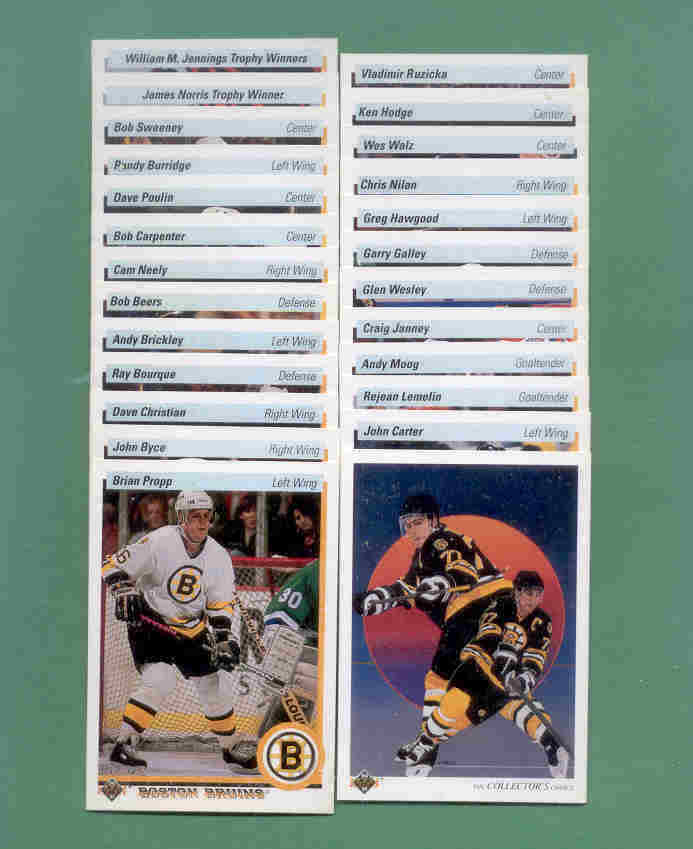 1990/91 Upper Deck Boston Bruins Hockey Team Set