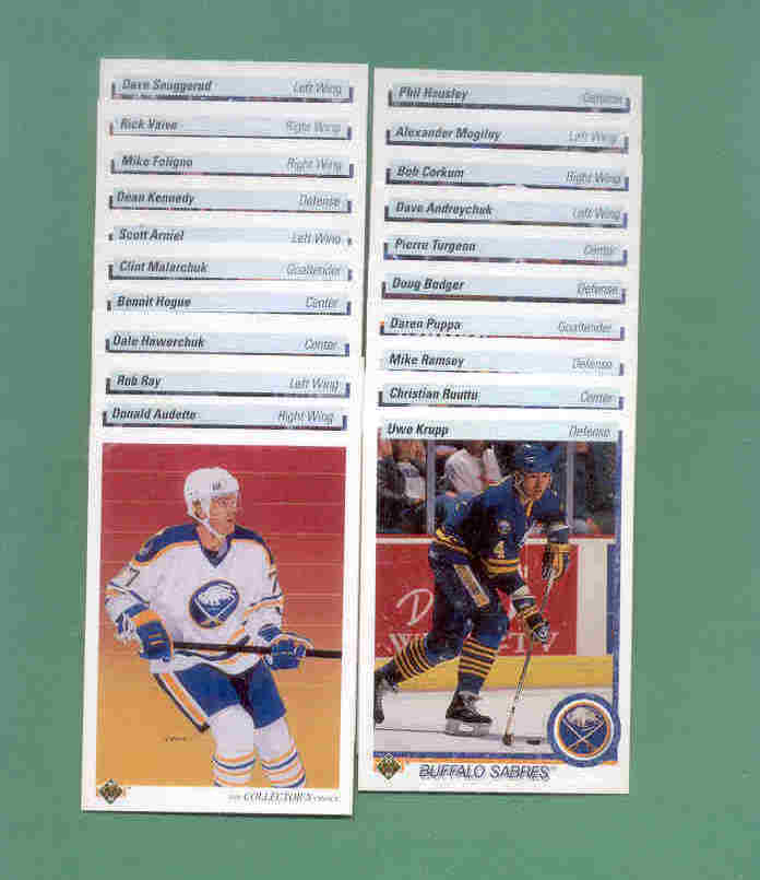 1990/91 Upper Deck Buffalo Sabres Hockey Team Set