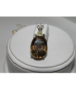 SALE 9.12ct Chocolate Smoky Quartz Pendant and Chain w Green Garnet Acce... - $30.00