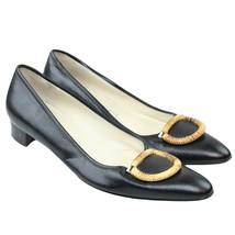 SALVATORE FERRAGAMO Womens Black Leather Embellished Flats Sz 9 AAA Italy - $62.36
