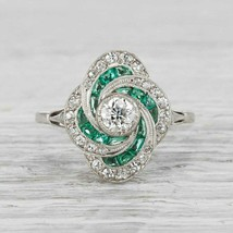 925 Sterling Silver 2.25CT Round White Diamond Floral Edwardian Retro St... - $177.21