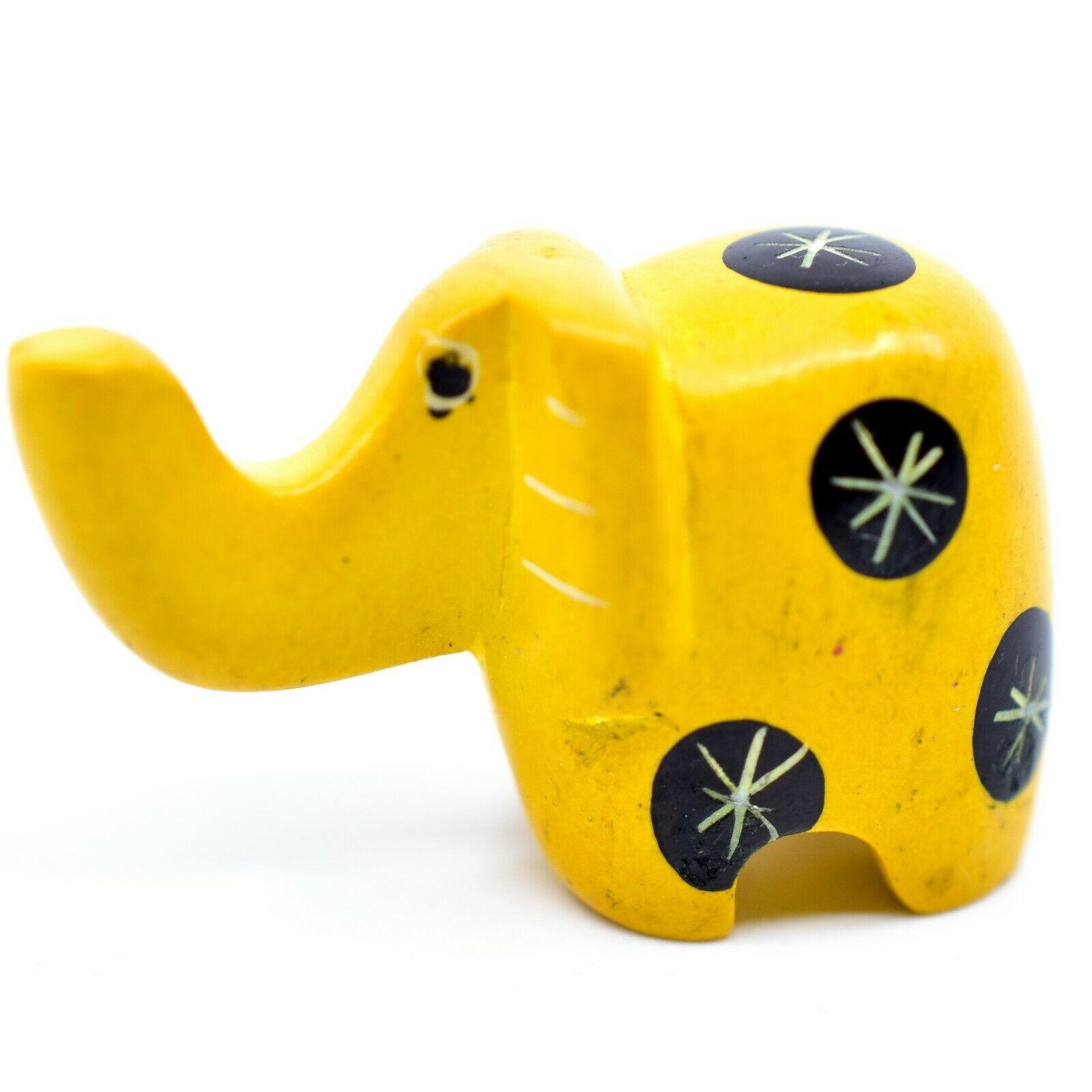 Tabaka Chigware Hand Carved Kisii Soapstone Miniature Yellow Elephant Figurine