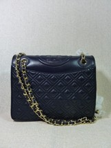 NWT Tory Burch Tory Navy Leather M Fleming XBody/Shoulder Bag $475 - $443.52