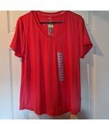 Tangerine Womens Shirt Top Coral Short Sleeve V Neck Stretch Mesh T-Shir... - $8.59