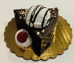Fake Piece of Cake Brownie Slice with Vanilla Ice Cream Chocolate Drizzle Prop - $15.83
