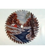 Hand Painted Saw Blade Winter Cabin By The River Custom Order Wall Decor... - $35.00