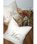Pillow Decor - Mr and Mrs 18x18 Linen Pillow Set - $89.95