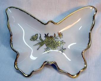 g24 Vintage Japan Handpainted Butterfly Candy Trinket Vanity Dish Gold Roses