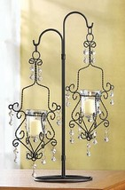8 Black Candelabra CRYSTAL Drop CANDLE HOLDER Wedding Centerpiece 18 3/4... - $114.00