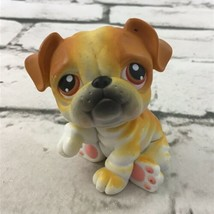 Littlest Pet Shop English Bulldog Figure Golden Brown Wrinkly Puppy Animal Toy - $7.91